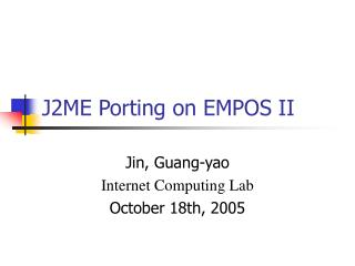 J2ME Porting on EMPOS II