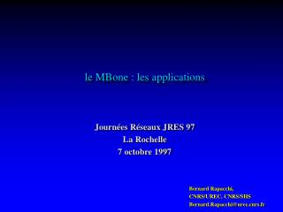 le MBone : les applications