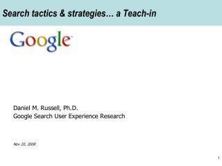 Search tactics & strategies… a Teach-in