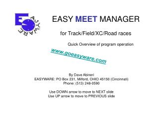 EASY  MEET  MANAGER for Track/Field/XC/Road races