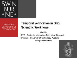 Temporal Verification in Grid/ Scientific Workflows