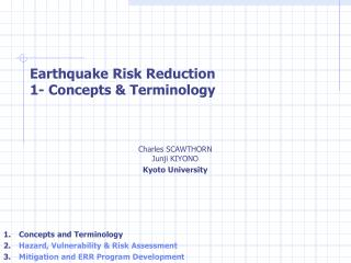 Earthquake Risk Reduction  1- Concepts & Terminology