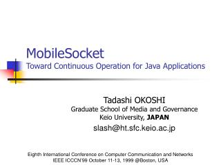 MobileSocket Toward Continuous Operation for Java Applications