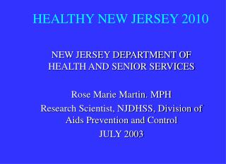 HEALTHY NEW JERSEY 2010