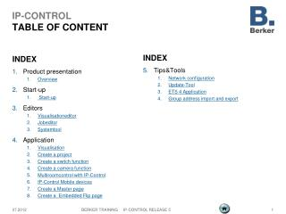 IP-CONTROL TABLE OF CONTENT
