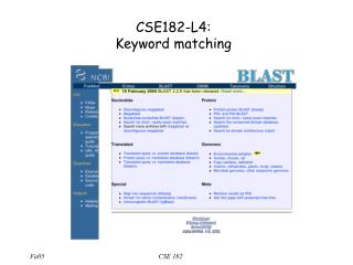 CSE182-L4:  Keyword matching