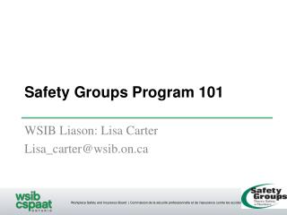 Safety Groups Program 101