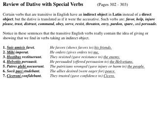 Review of Dative with Special Verbs	 (Pages 302 - 303)