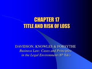CHAPTER 17 TITLE AND RISK OF LOSS