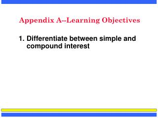 Appendix A--Learning Objectives