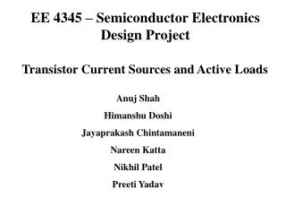 EE 4345 – Semiconductor Electronics Design Project