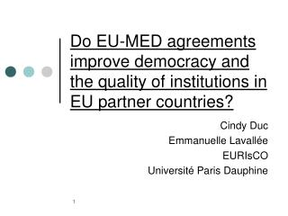 Do EU-MED agreements improve democracy and the quality of institutions in EU partner countries?