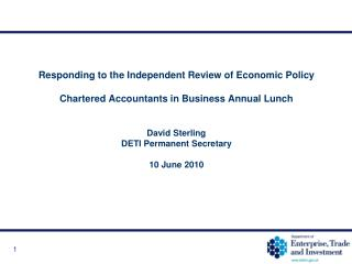 Responding to the Independent Review of Economic Policy