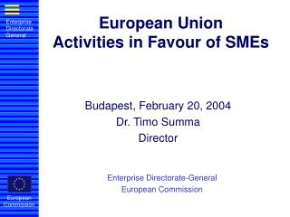European Union Activities in Favour of SMEs