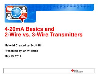 4-20mA Basics and 2-Wire vs. 3-Wire Transmitters