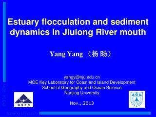 Estuary flocculation and sediment dynamics in Jiulong River mouth