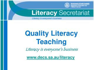 Quality Literacy Teaching   Literacy is everyone s business