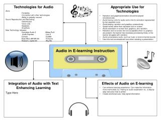Audio in E-learning Instruction