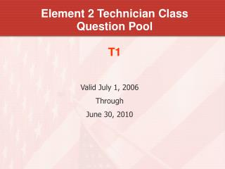 Element 2 Technician Class Question Pool T1