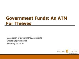 Government Funds: An ATM For Thieves