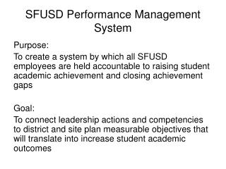 SFUSD Performance Management System