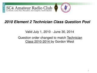 2010 Element 2 Technician Class Question Pool