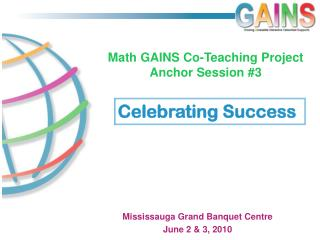 Math GAINS Co-Teaching Project  Anchor Session #3