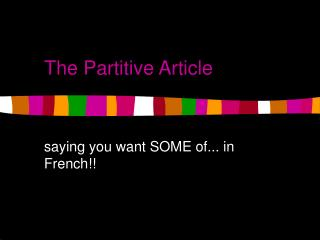 The Partitive Article