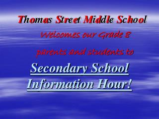 Secondary School Information Hour!