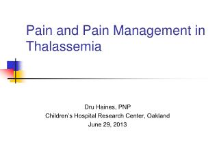 Pain and Pain Management in Thalassemia