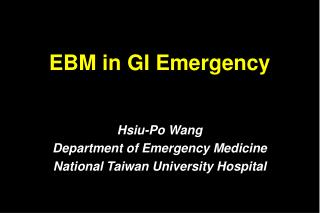 EBM in GI Emergency