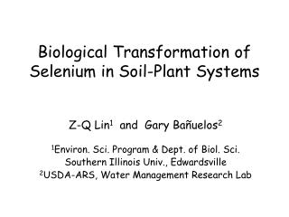 Biological Transformation of Selenium in Soil-Plant Systems