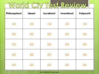 World Civ Test Review