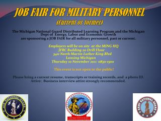 JOB FAIR FOR MILITARY PERSONNEL (Current or former)