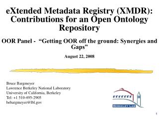eXtended Metadata Registry (XMDR): Contributions for an Open Ontology Repository