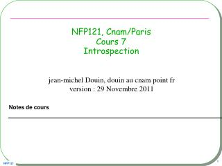 NFP121, Cnam/Paris Cours 7 Introspection