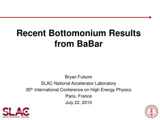 Recent Bottomonium Results from BaBar