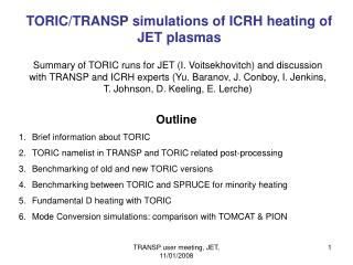 TORIC/TRANSP simulations of ICRH heating of JET plasmas