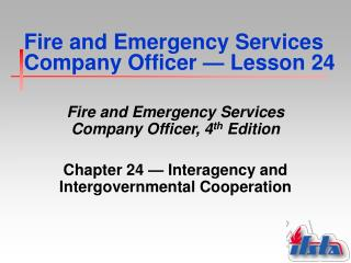 Fire and Emergency Services Company Officer  —  Lesson 24