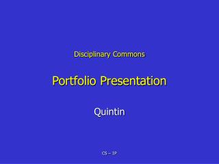 Disciplinary Commons Portfolio Presentation