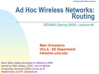 Ad Hoc Wireless Networks: Routing