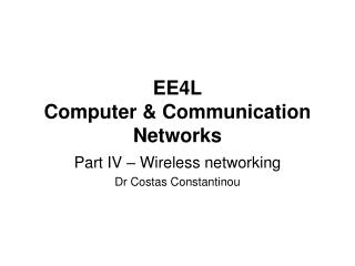 EE4L Computer & Communication Networks