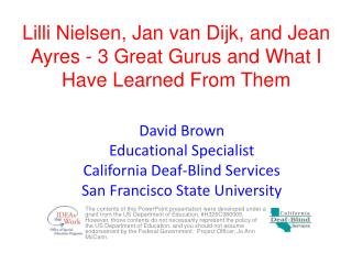 Lilli Nielsen, Jan van Dijk, and Jean Ayres - 3 Great Gurus and What I Have Learned From Them
