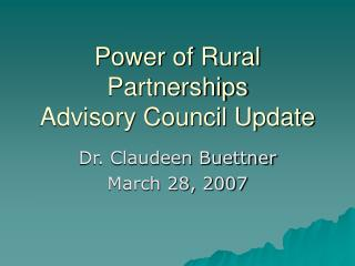 Power of Rural Partnerships Advisory Council Update