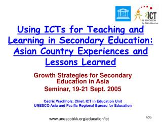 Growth Strategies for Secondary Education in Asia  Seminar, 19-21 Sept. 2005