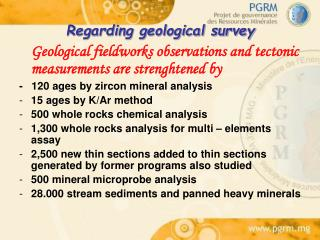 Regarding geological survey