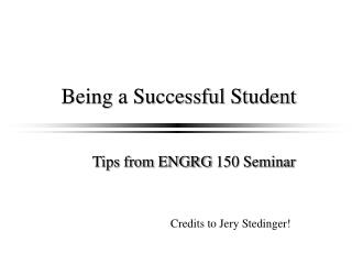 Being a Successful Student