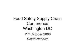 Food Safety Supply Chain Conference  Washington DC