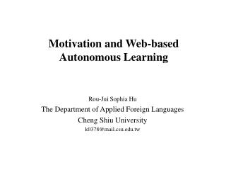Motivation and Web-based Autonomous Learning