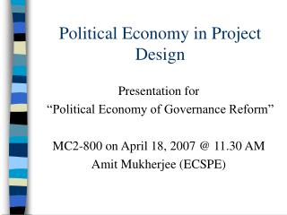 Political Economy in Project Design
